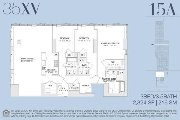 Floor plan of 35XV, 35 West 15th Street, 15A - Flatiron District, New York