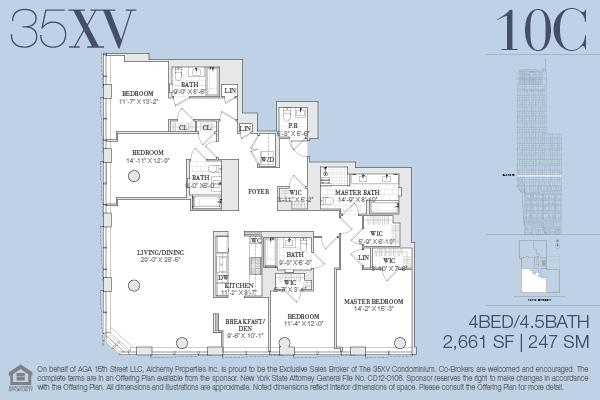 Floor plan of 35XV, 35 West 15th Street, 10C - Flatiron District, New York