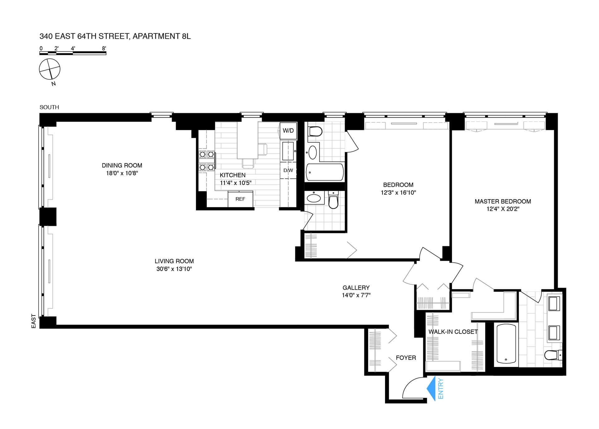 Floor plan of St. Tropez, 340 East 64th St, 8L - Upper East Side, New York