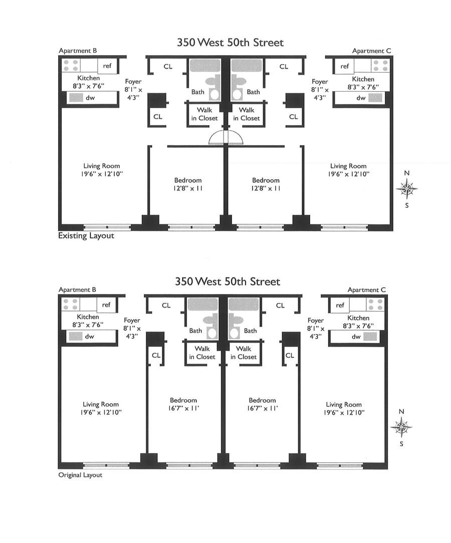 Floor plan of Worldwide Plaza, 350 West 50th St, 2CB - Clinton, New York