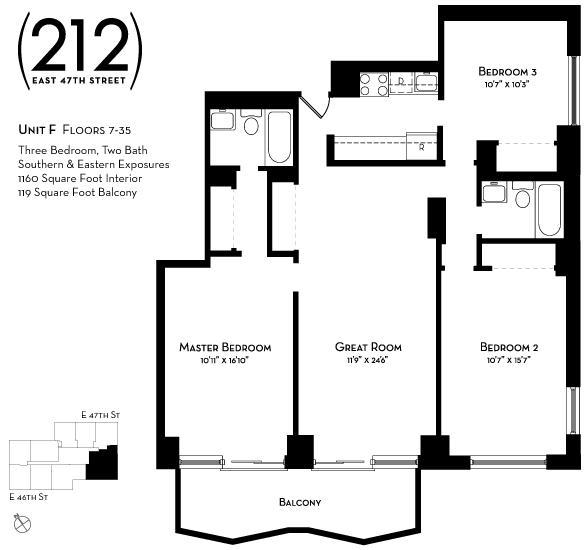 Floor plan of L'Ecole Condominium, 212 East 47th Street, 7F - Turtle Bay, New York
