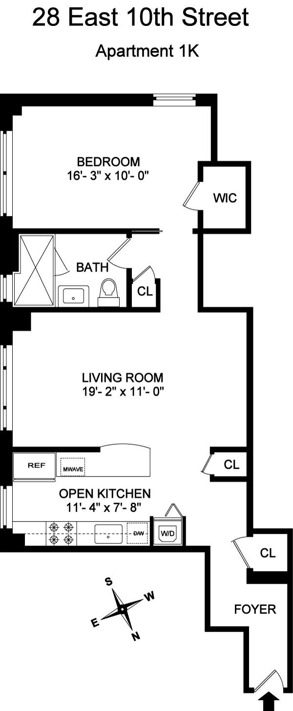 Floor plan of Devonshire House, 28 East 10th St, 1K - Greenwich Village, New York
