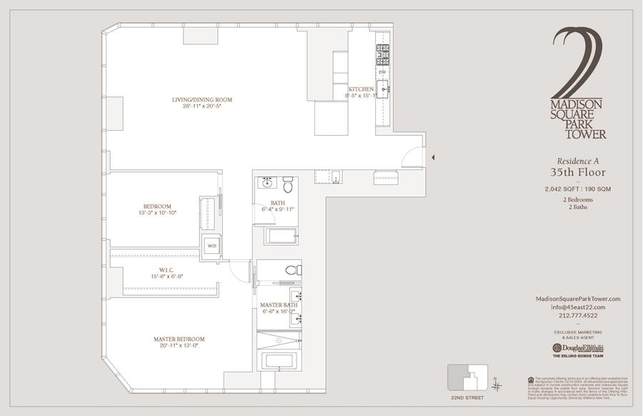 Floor plan of Madison Square Park Tower, 45 East 22nd St, 35A - Flatiron District, New York