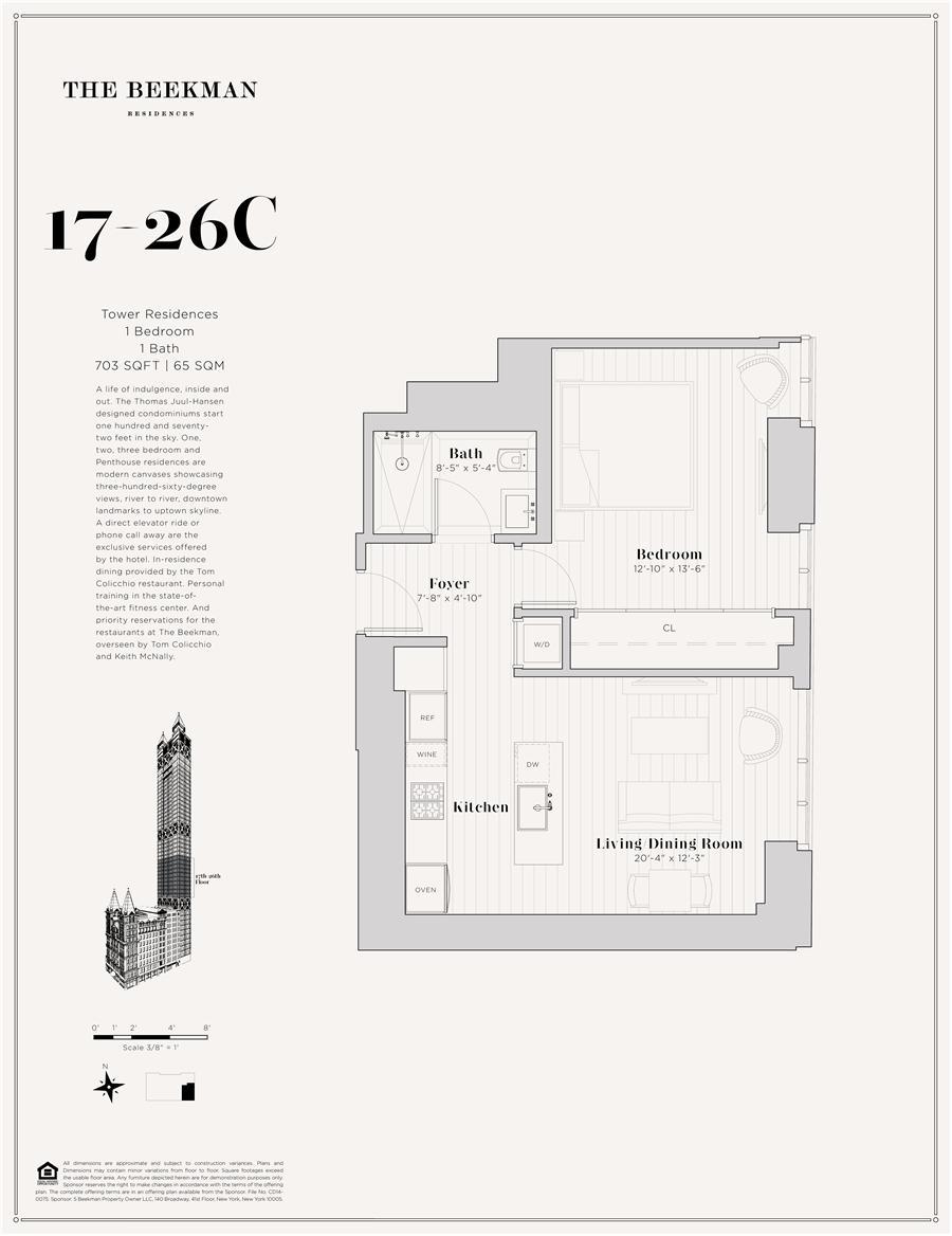 Floor plan of The Beekman Residences, 5 Beekman St, 21C - Financial District, New York