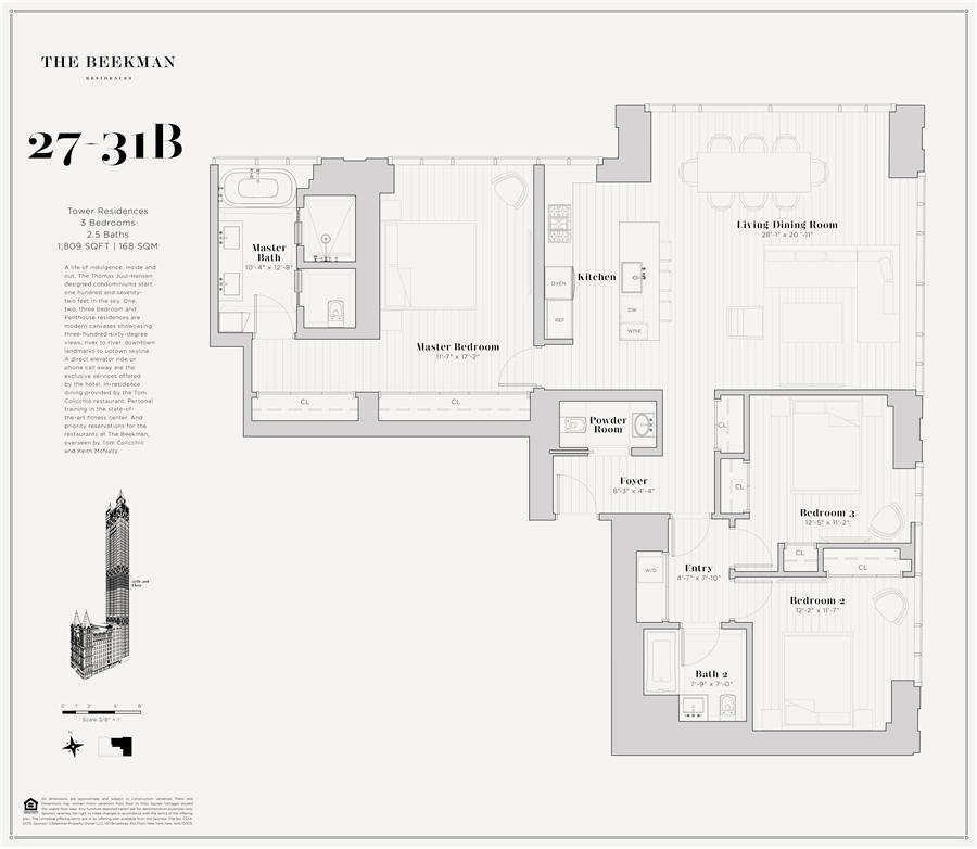 Floor plan of The Beekman Residences, 5 Beekman St, 27B - Financial District, New York