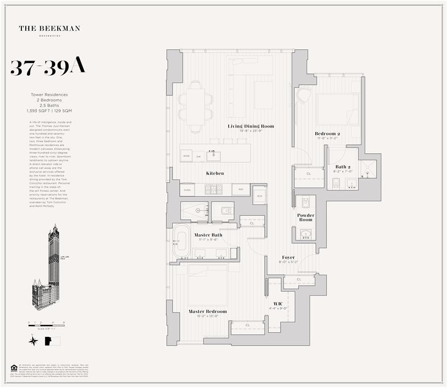 Floor plan of The Beekman Residences, 5 Beekman St, 38A - Financial District, New York