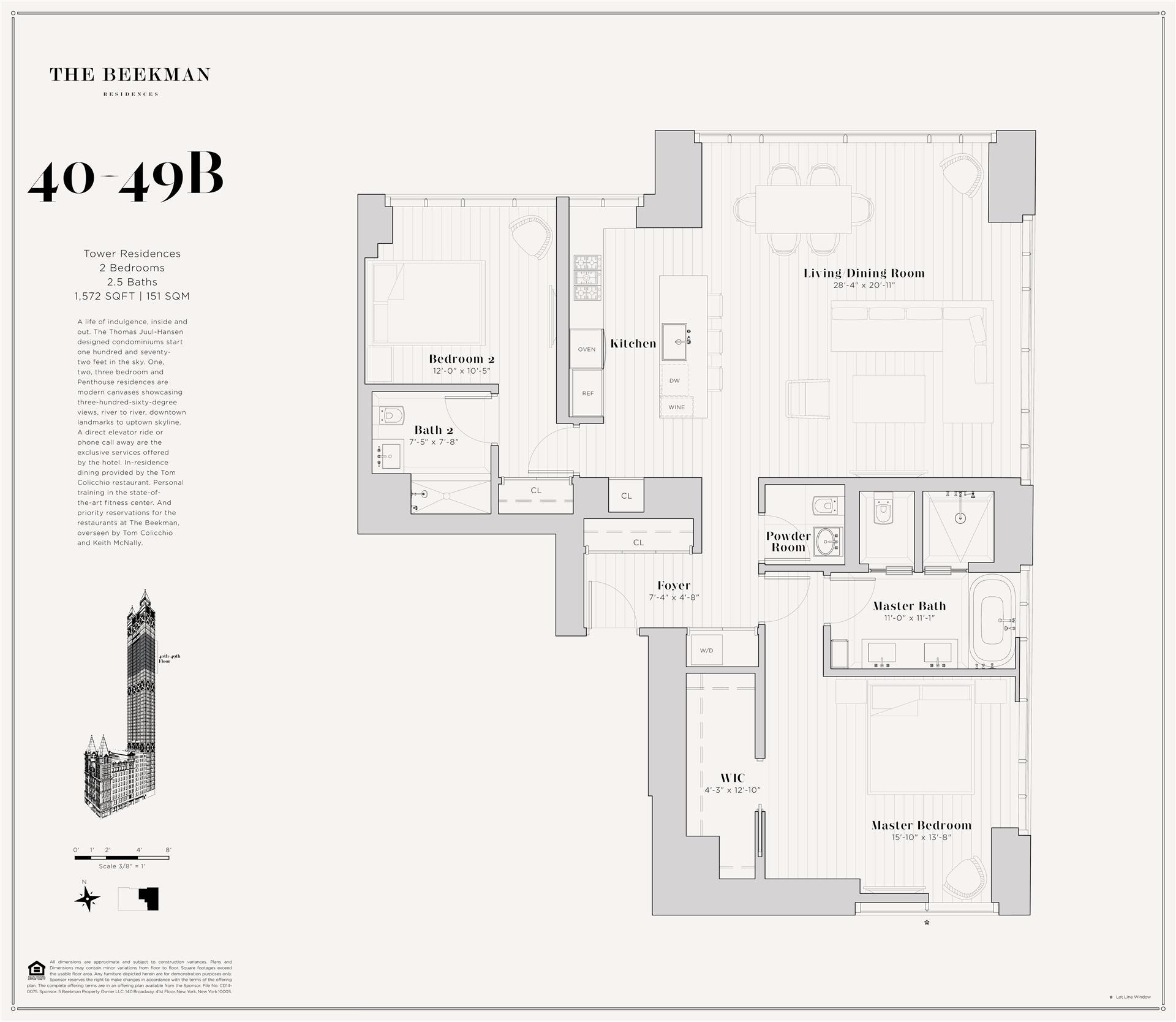 Floor plan of The Beekman Residences, 5 Beekman St, 40B - Financial District, New York