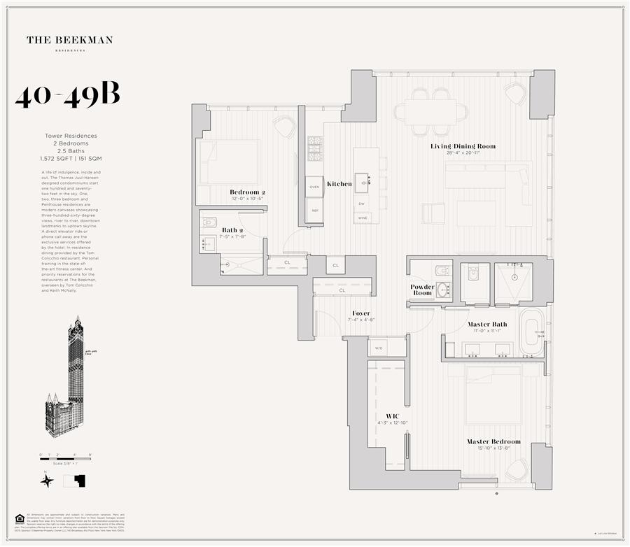 Floor plan of The Beekman Residences, 5 Beekman St, 40B - Financial District, New York