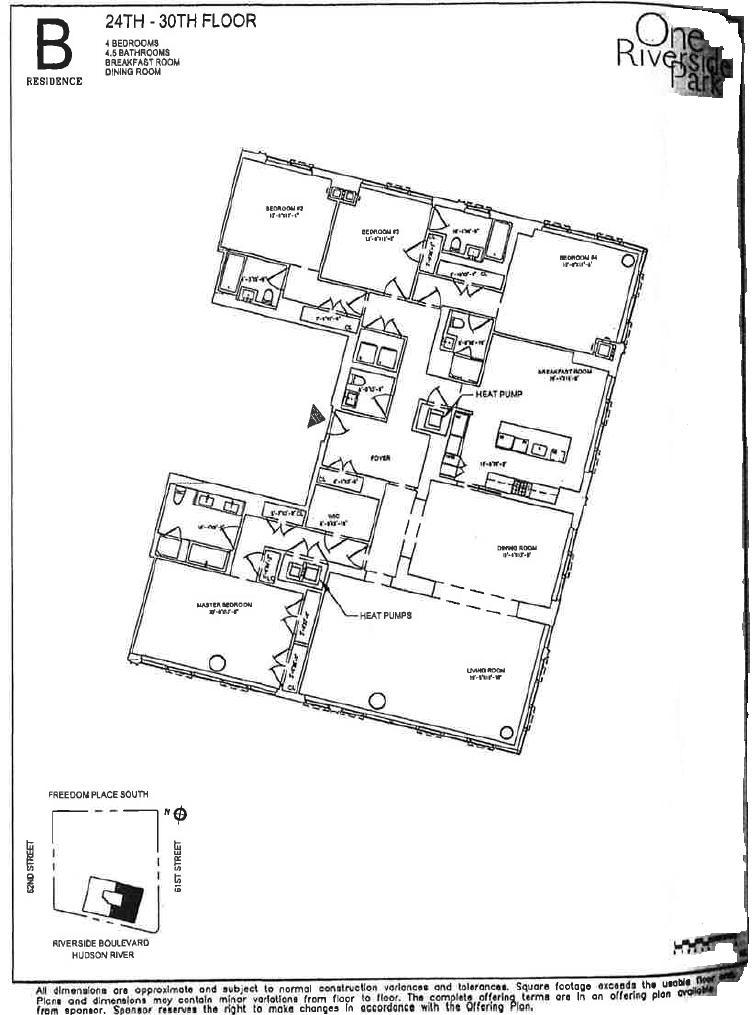 Floor plan of One Riverside Park, 50 Riverside Boulevard, 28B - Lincoln Square, New York