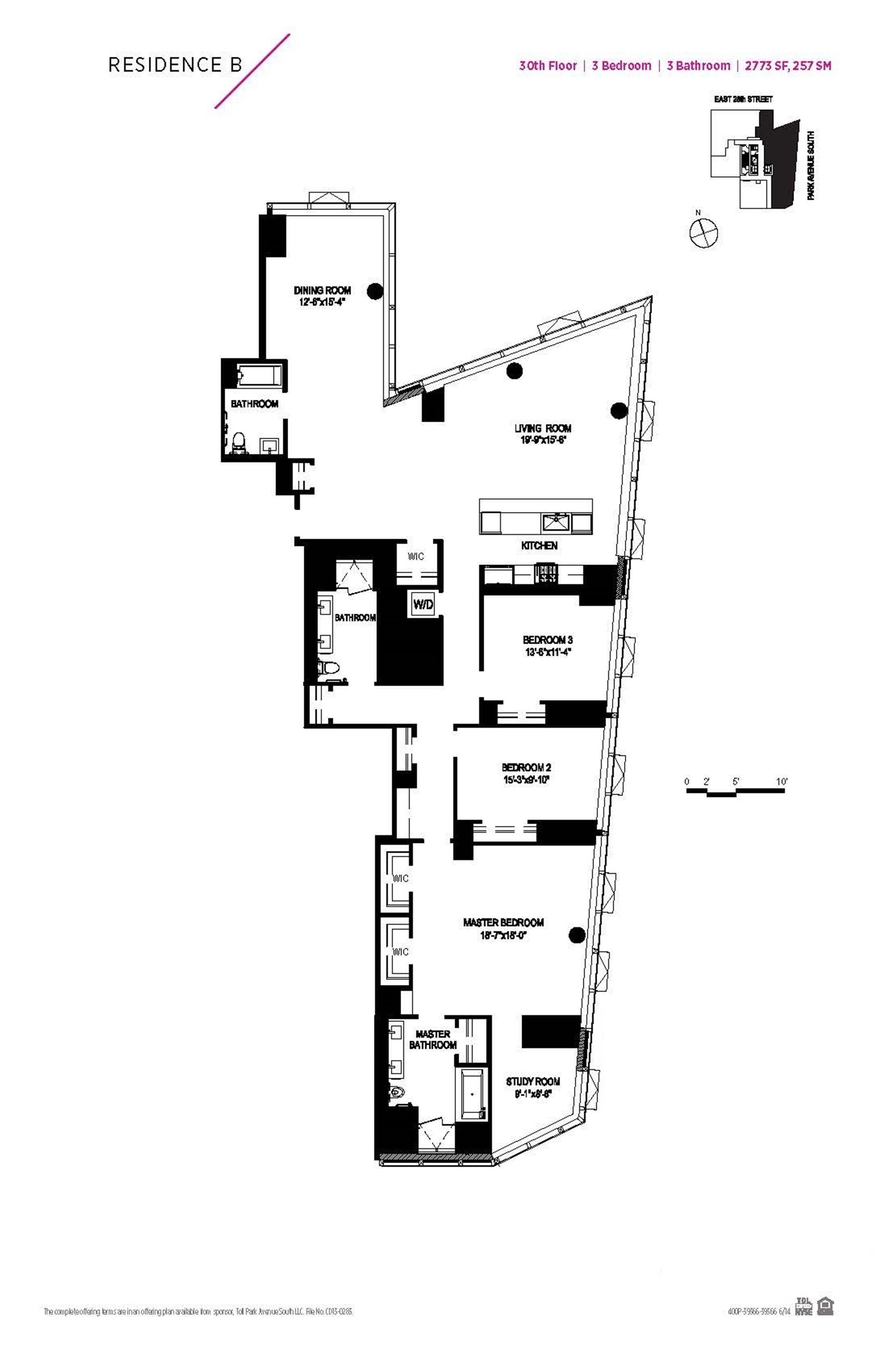 Floor plan of 400 Park Avenue South, 30B - Midtown, New York