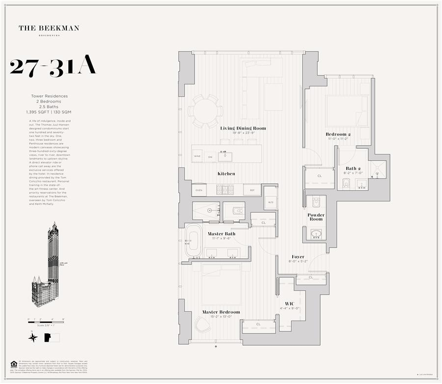 Floor plan of The Beekman Residences, 5 Beekman St, 28A - Financial District, New York