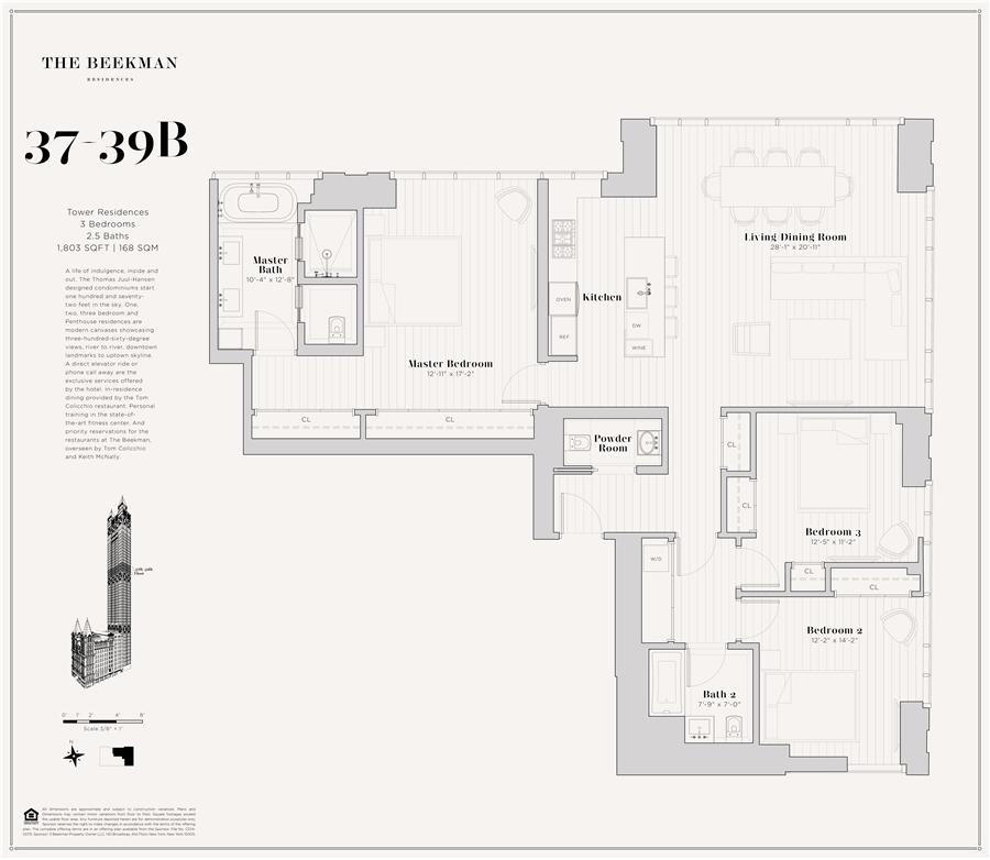 Floor plan of The Beekman Residences, 5 Beekman St, 39B - Financial District, New York