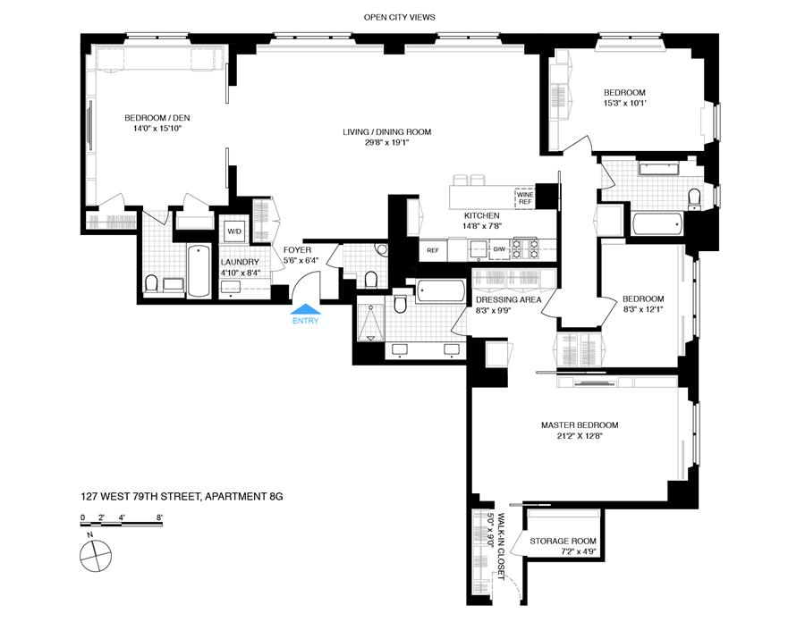 Floor plan of THE CLIFTON HOUSE, 127 West 79th Street, 8GFE - Upper West Side, New York