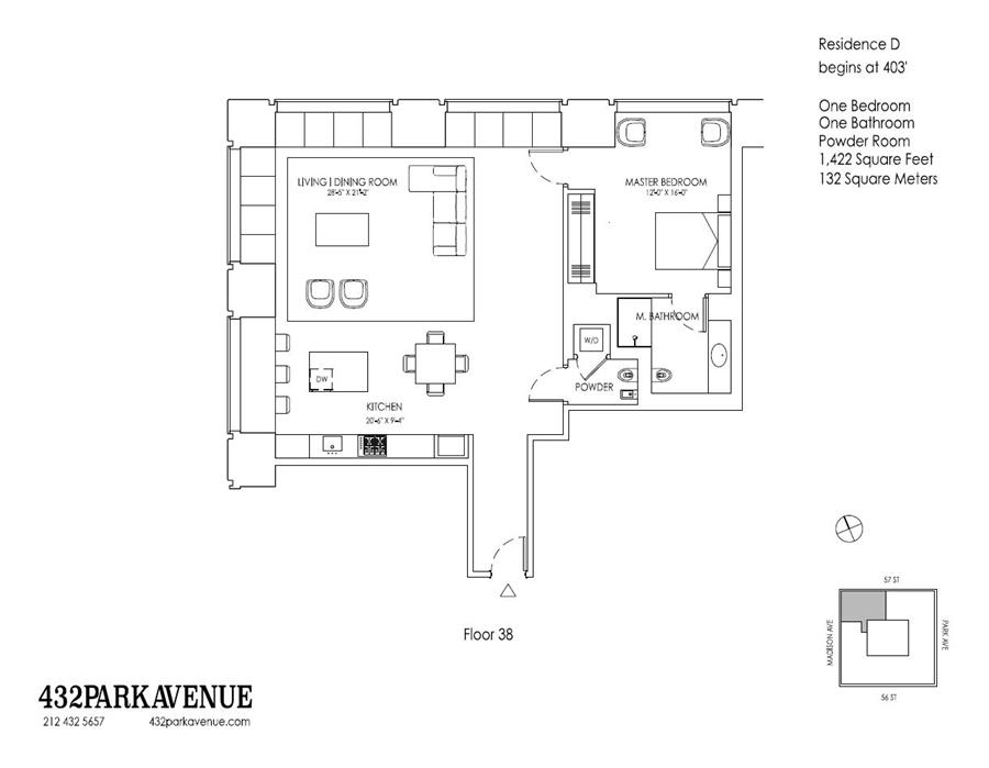 Floor plan of 432 Park Avenue, 38D - Midtown, New York