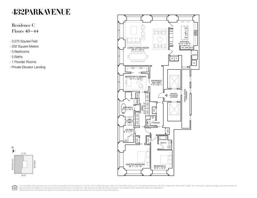 Floor plan of 432 Park Avenue, 43C - Midtown, New York