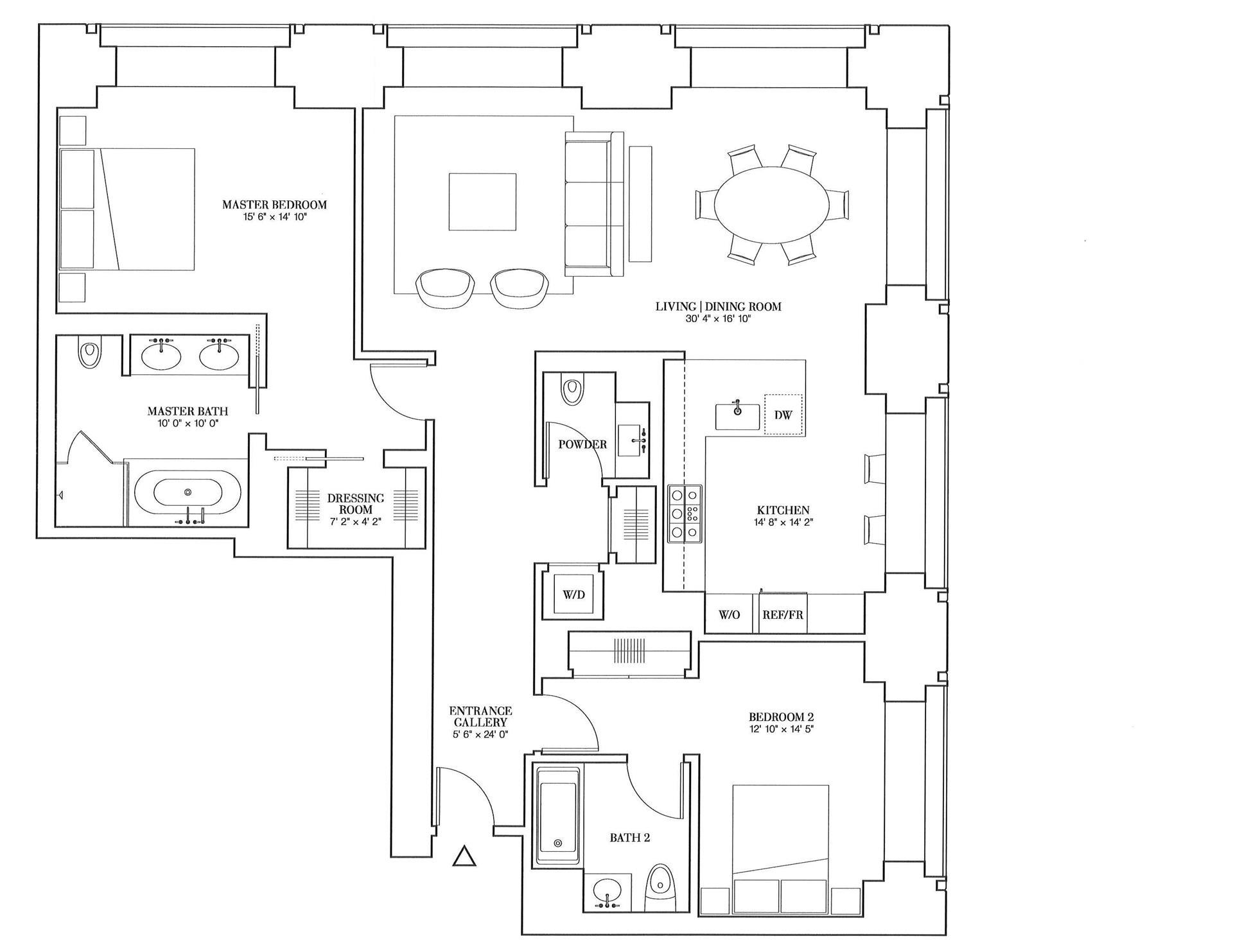 Floor plan of 432 Park Avenue, 53A - Midtown, New York