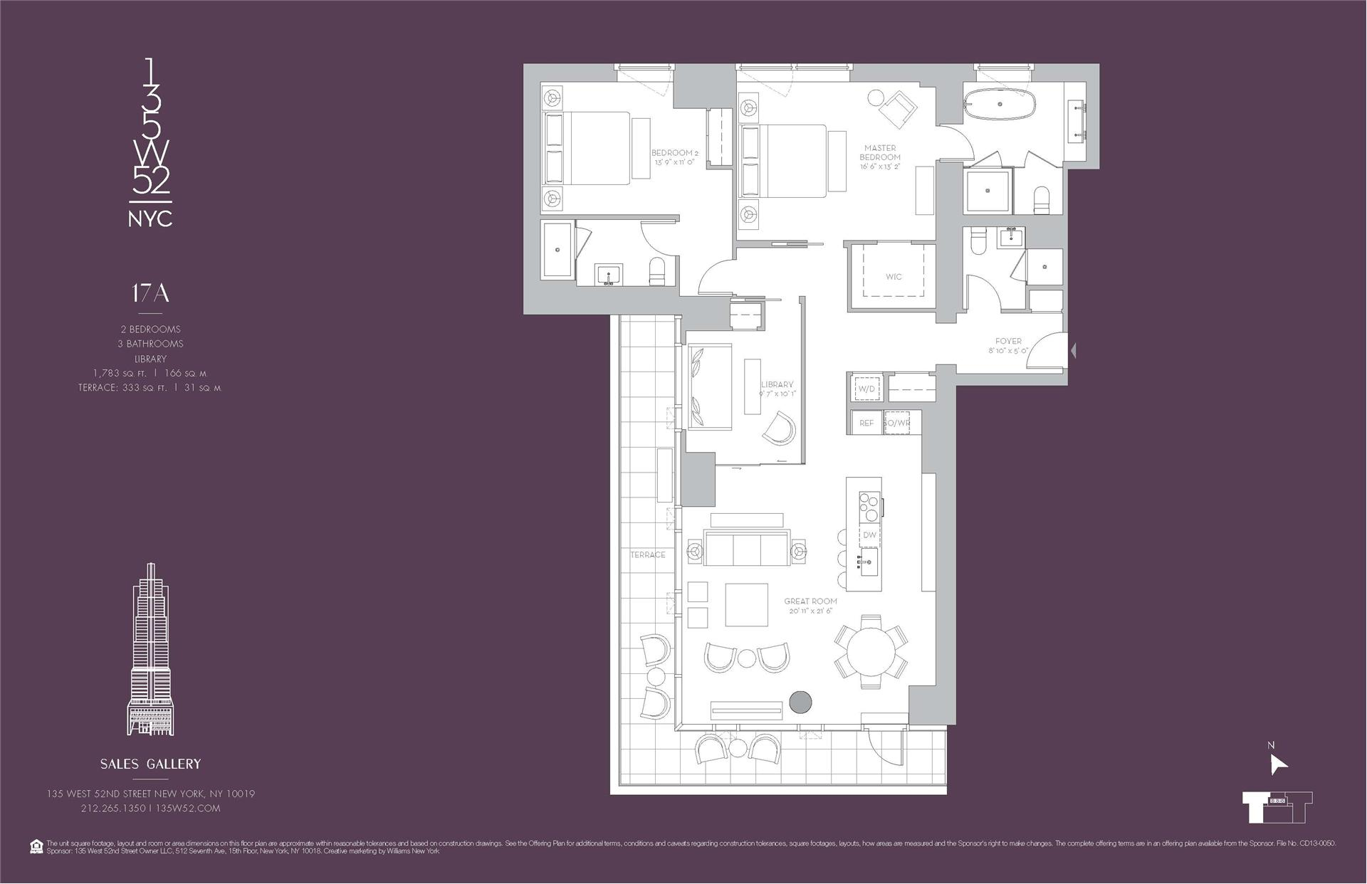 Floor plan of 135 West 52nd St, 17A - Midtown, New York
