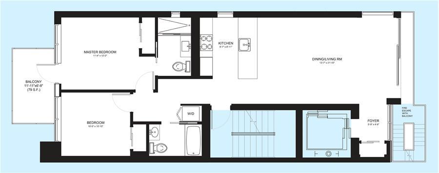 Floor plan of 179 Ludlow Street, 4 - Lower East Side, New York