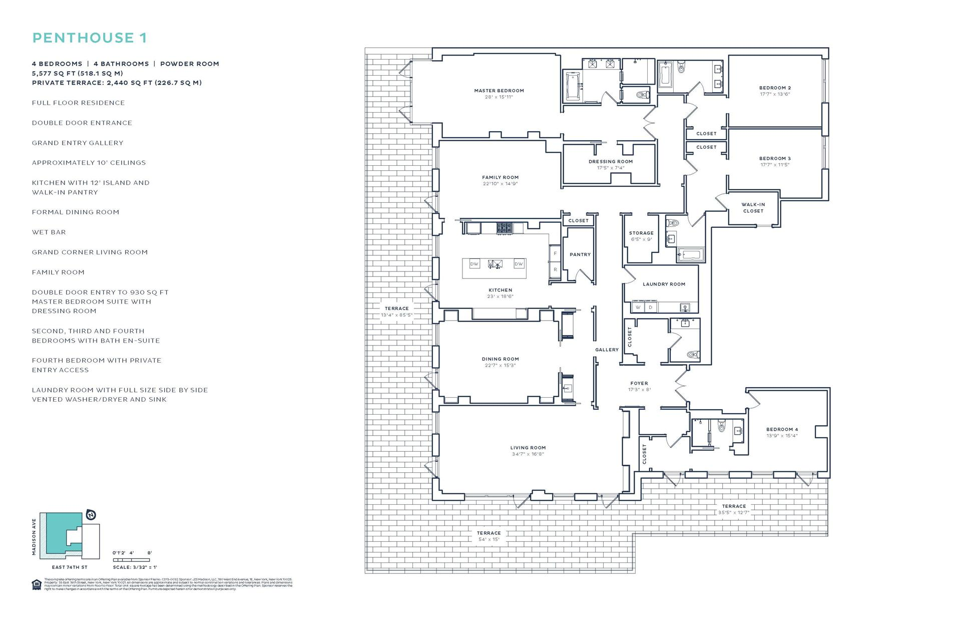 Floor plan of 33 East 74th Street, 33 East 74th St, PH1 - Upper East Side, New York