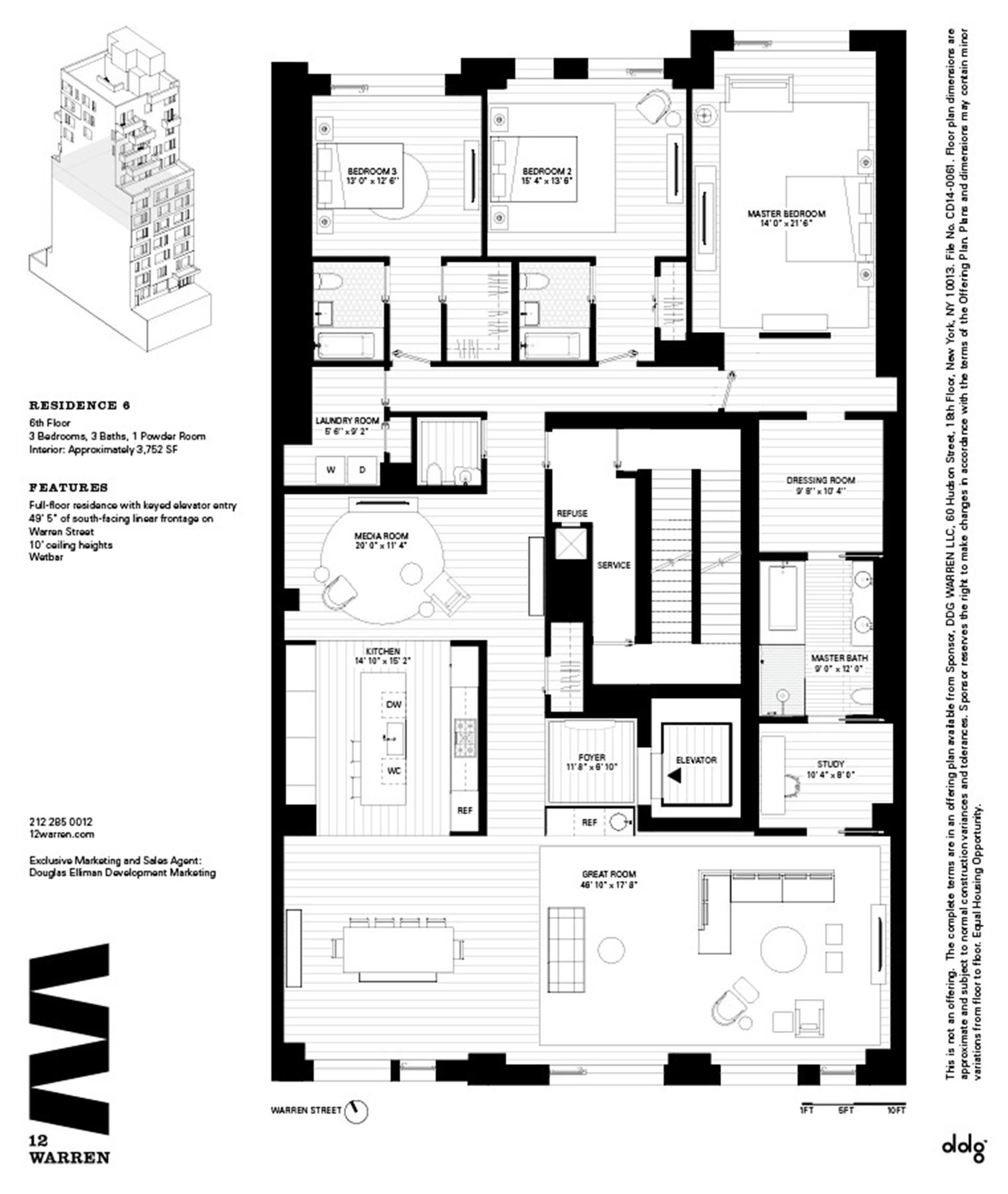 Floor plan of 12 Warren St, 6 - TriBeCa, New York