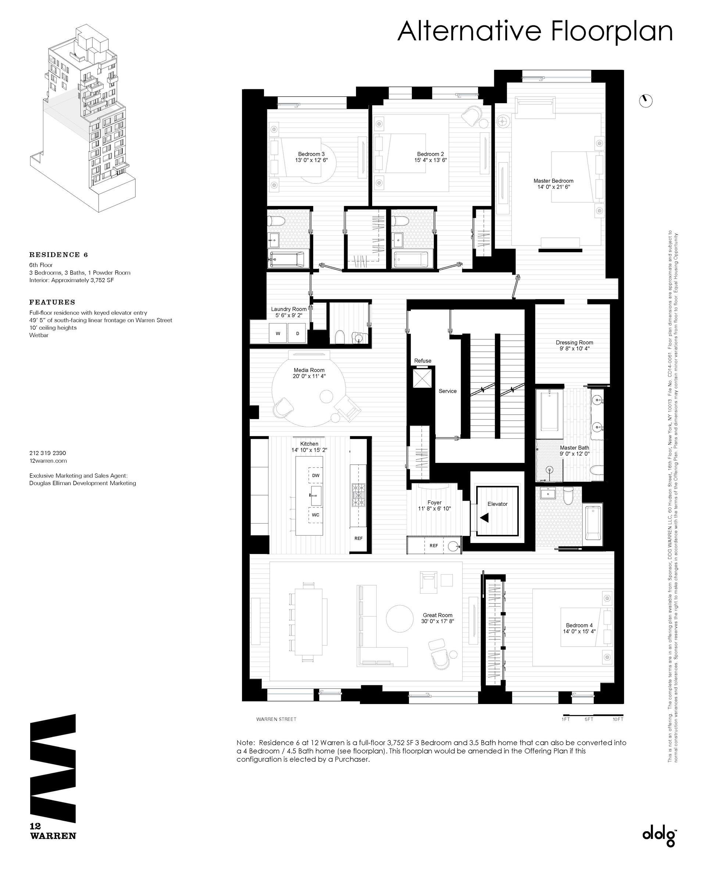 Floor plan of 12 Warren St, 6 - TriBeCa, New York