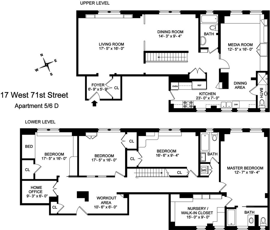 Floor plan of 17 West 71st Street, 5/6D - Upper West Side, New York