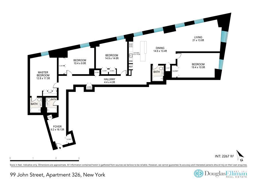 Floor plan of 99 John Street, 326 - Financial District, New York