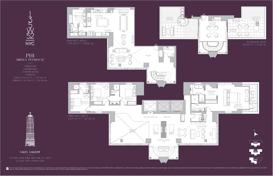 Floor plan of 135 West 52nd St, PH1 - Midtown, New York
