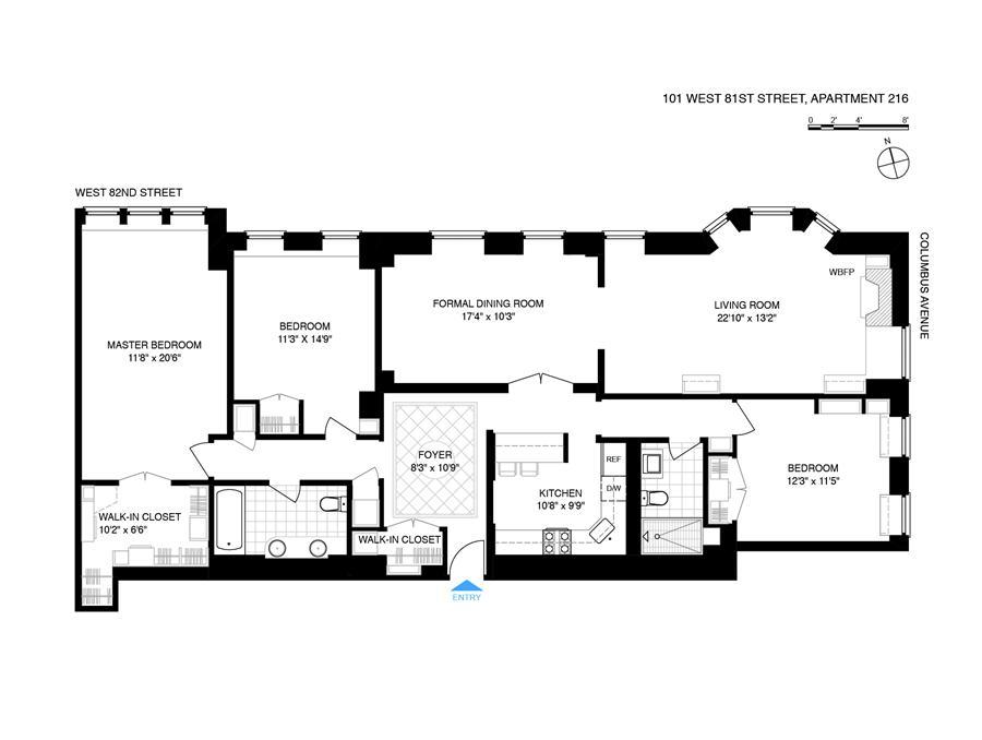 Floor plan of THE ENDICOTT, 101 West 81st Street, 216 - Upper West Side, New York