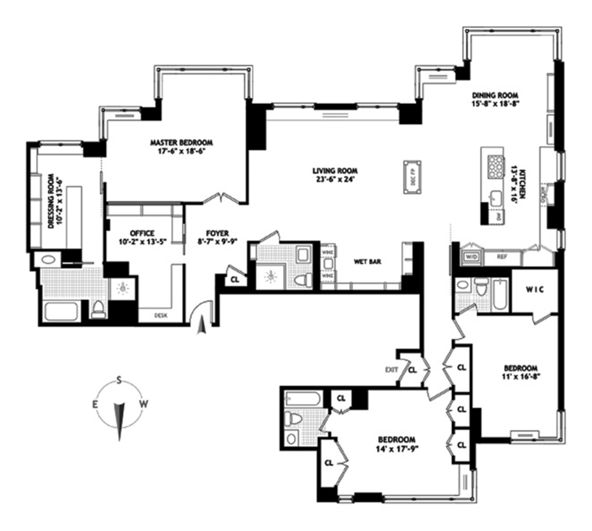 Floor plan of THE BELAIRE, 524 East 72nd St, 30C - Upper East Side, New York