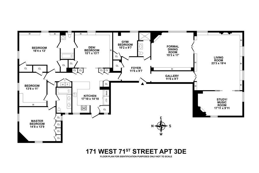 Floor plan of The Dorilton, 171 West 71st Street, 3DE - Upper West Side, New York