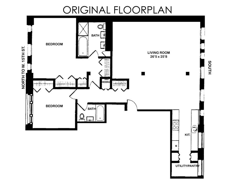 Floor plan of Porter House, 66 Ninth Avenue, 2E - Chelsea, New York