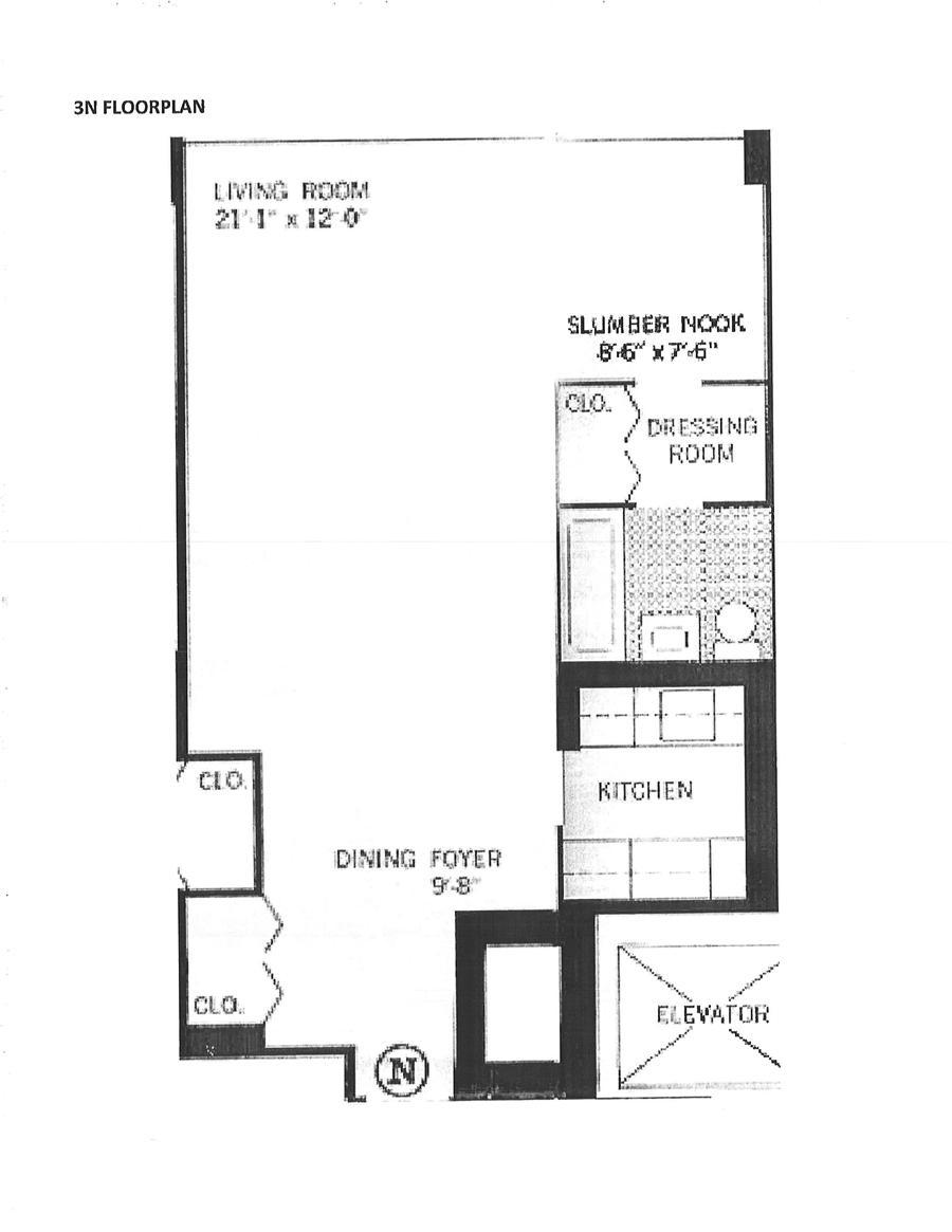 Floor plan of 333 East 14th Street, 3N - East Village, New York
