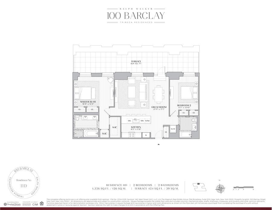 Floor plan of Ralph Walker Tribeca, 100 Barclay Street, 11D - TriBeCa, New York