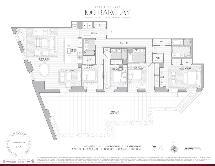 Floor plan of Ralph Walker Tribeca, 100 Barclay Street, 11A - TriBeCa, New York