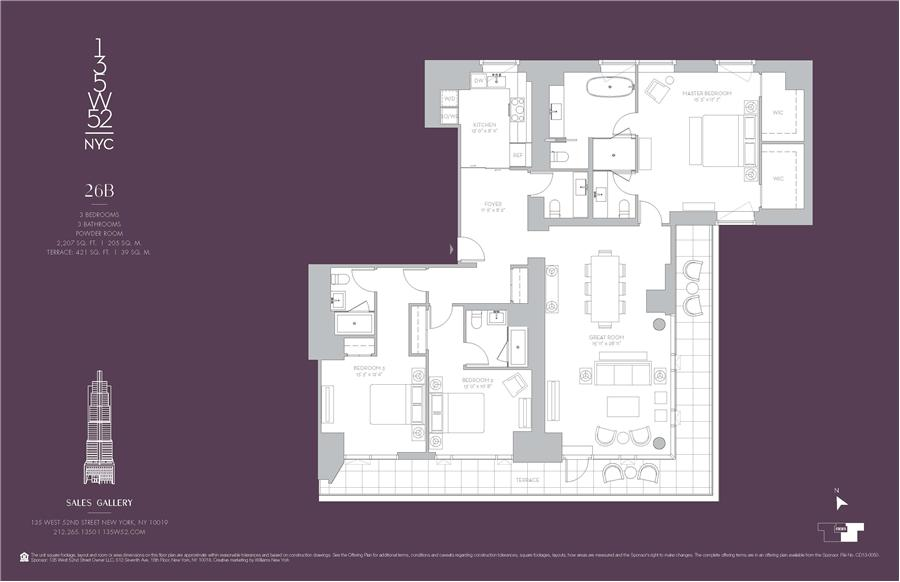 Floor plan of 135 West 52nd Street, 26B - Midtown, New York