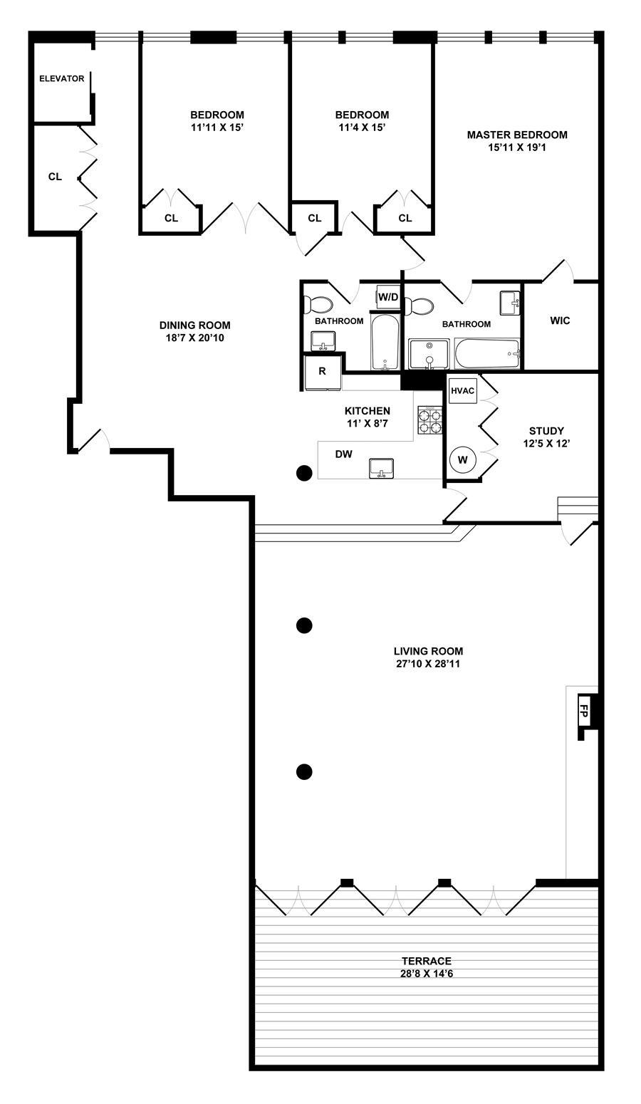 Floor plan of 110 Duane Street, PH2