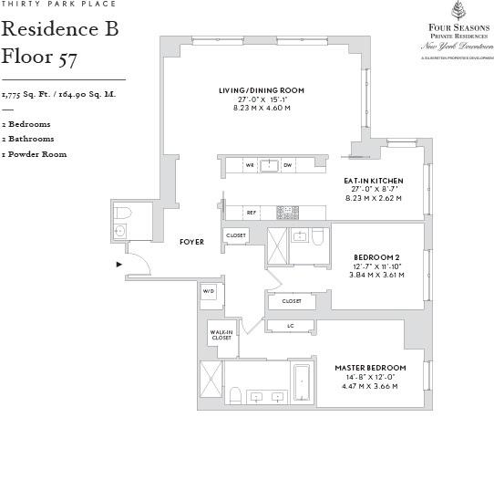 Floor plan of Four Seasons, 30 Park Pl, 57B - TriBeCa, New York