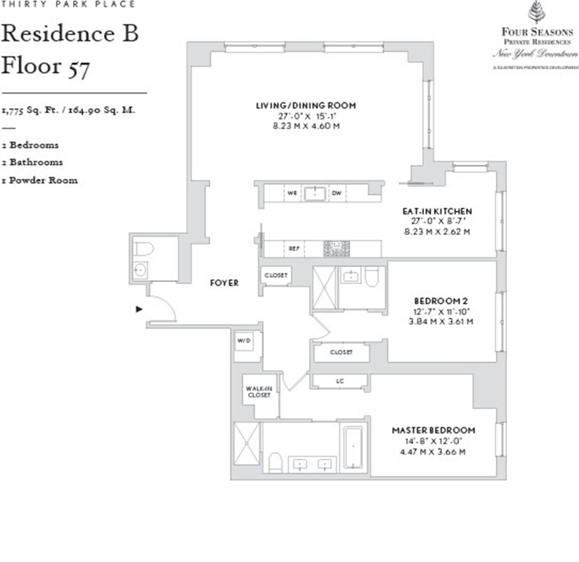 Floor plan of Four Seasons, 30 Park Pl, 57B - TriBeCa, New York