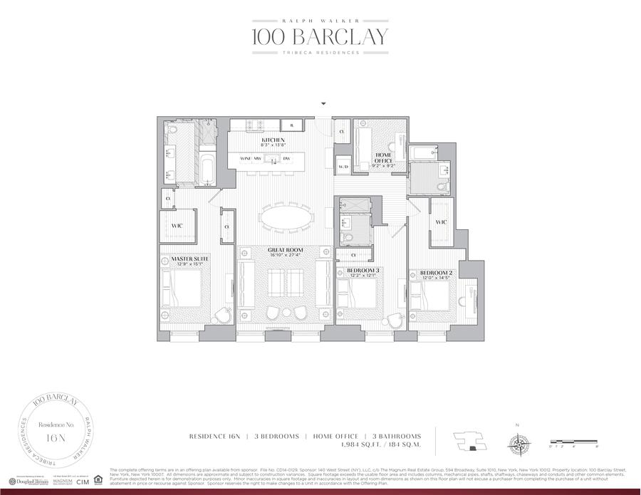 Floor plan of Ralph Walker Tribeca, 100 Barclay St, 16N - TriBeCa, New York