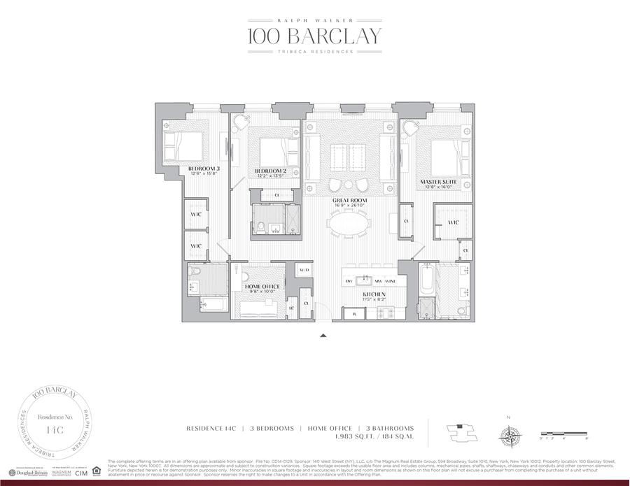 Floor plan of Ralph Walker Tribeca, 100 Barclay St, 14C - TriBeCa, New York