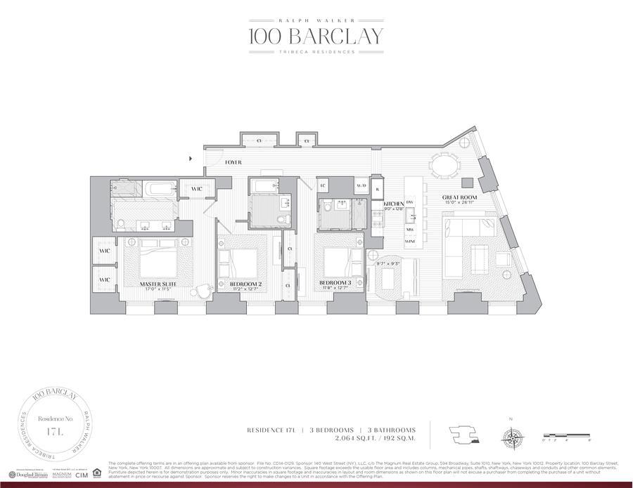 Floor plan of Ralph Walker Tribeca, 100 Barclay Street, 17L - TriBeCa, New York