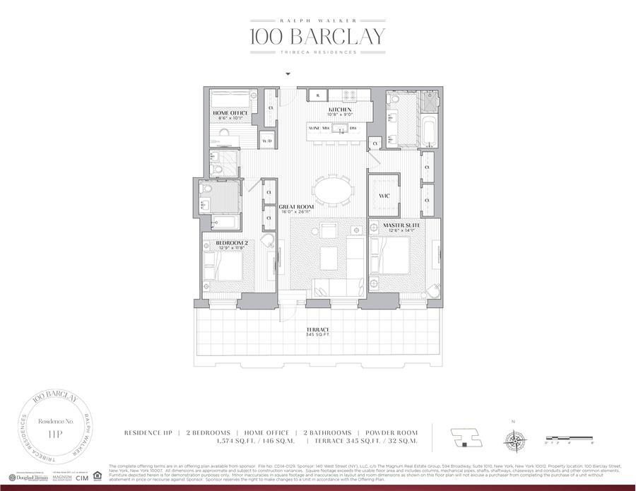 Floor plan of Ralph Walker Tribeca, 100 Barclay Street, 11P - TriBeCa, New York