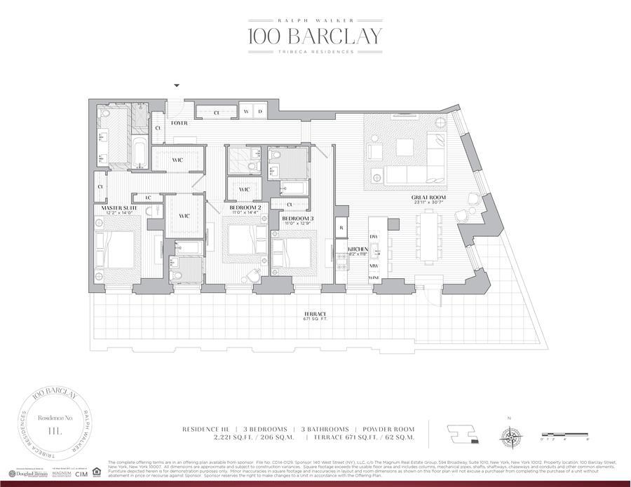 Floor plan of Ralph Walker Tribeca, 100 Barclay Street, 11L - TriBeCa, New York