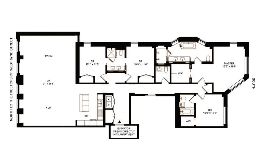 Floor plan of 182 West 82nd Street, 4E - Upper West Side, New York