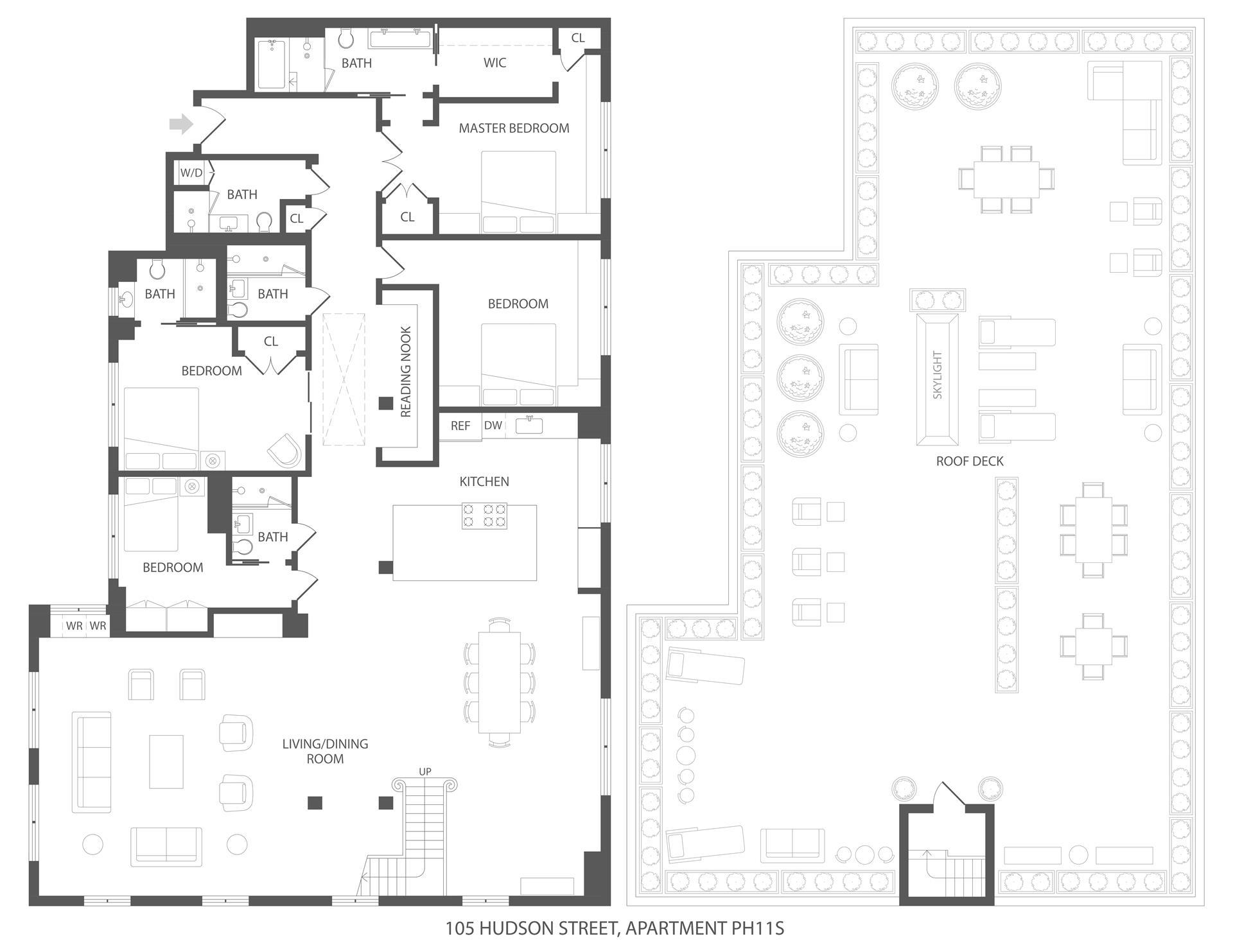 Floor plan of The Powell Building, 105 Hudson St, PH11S - TriBeCa, New York