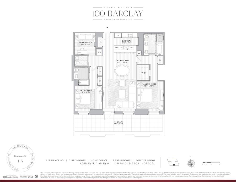 Floor plan of Ralph Walker Tribeca, 100 Barclay Street, 11N - TriBeCa, New York