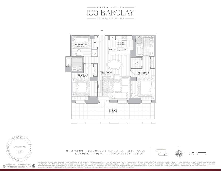 Floor plan of Ralph Walker Tribeca, 100 Barclay Street, 11M - TriBeCa, New York