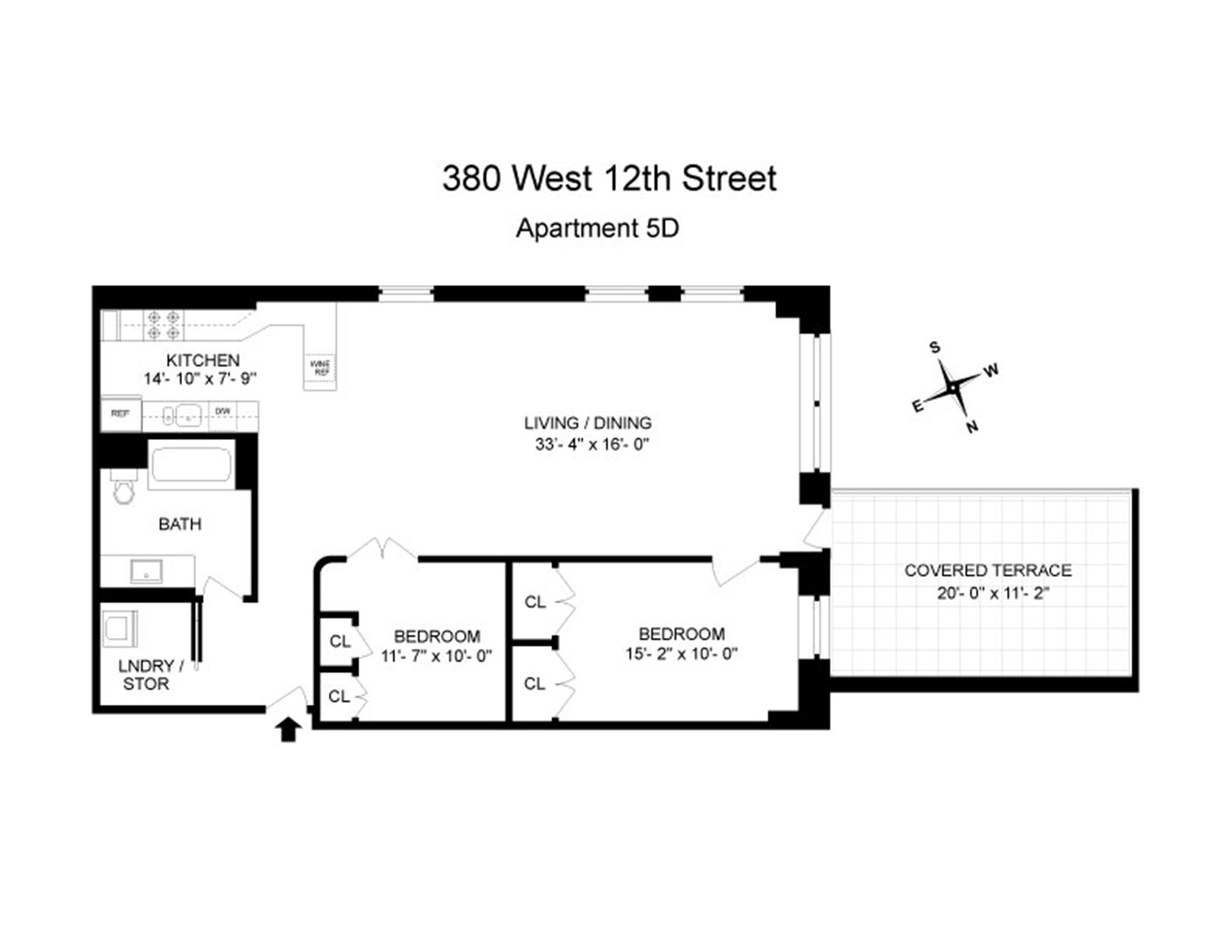 Floor plan of 380 West 12th St, 5D - West Village - Meatpacking District, New York