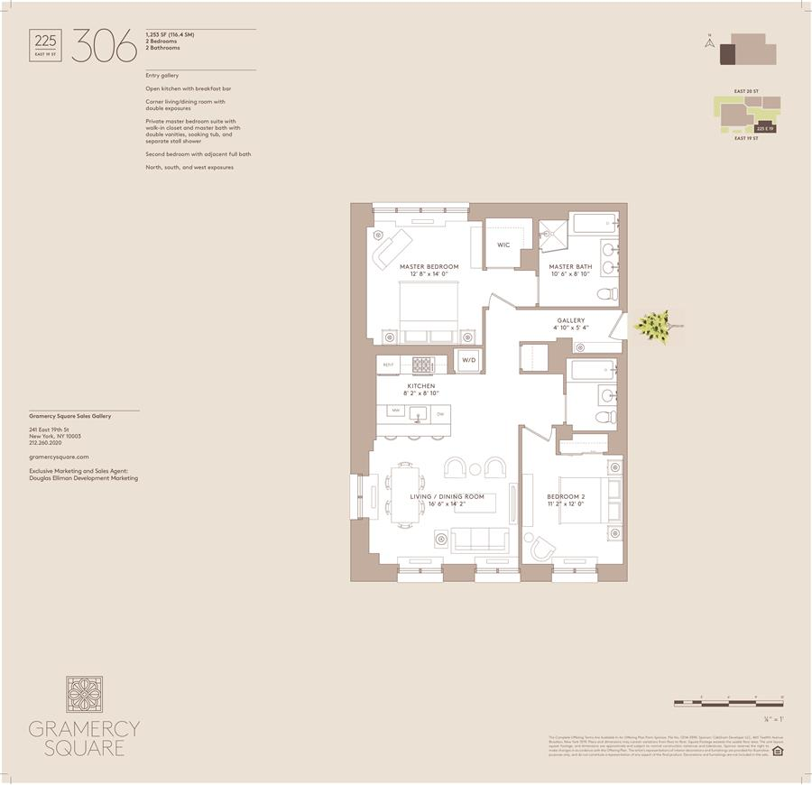 Floor plan of Gramercy Square, 225 East 19th St, 306 - Gramercy - Union Square, New York